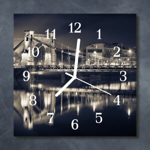 Glass-Wall-Clock-Kitchen-Clocks-30x30-cm-silent-Bridge-Black