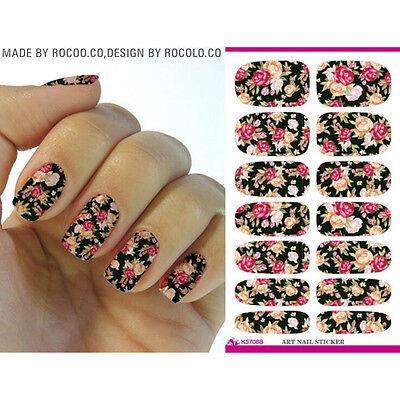 Hotsale Water Transfer Nail Art Sticker Rose Flowers Design Manicure Decor Decal
