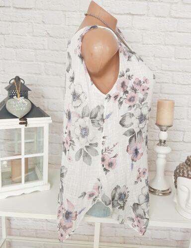 ITALY Damen Top Blumen Tunika Hängerchen Floral Oversize Bluse Weiß Rosa 40 42