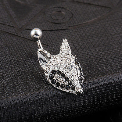 Cute Fox headBlack White Bar Barbell Body Jewelry Belly/Navel Ring Body Piercing