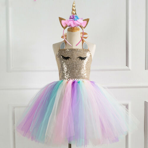 Headband Birthday Party Pageant Sequins Dresses Kids Girls Unicorn Tutu Dress