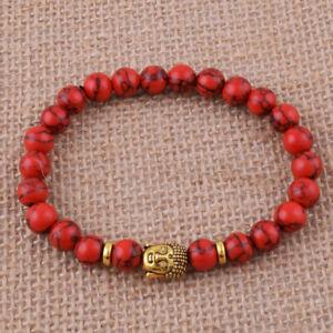 8mm-Red-Turquoise-Bracelet-7-5inches-Healing-yoga-cuff-Meditation-Chakas-mala