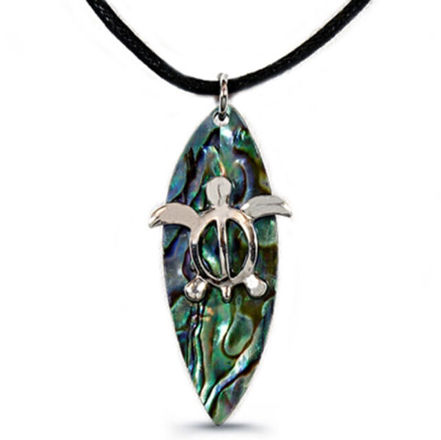 "Sea Turtle on Surfboard Charm Pendant Necklace - Abalone Paua Shell - 18"" Chain"