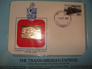 Grenada FDC w/ 23 kt gold replica Stamp 1982 Trans-Siberian Express