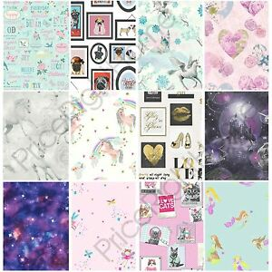 Image Is Loading GIRLS WALLPAPER THEMED BEDROOM UNICORN STARS HEART GLITTER