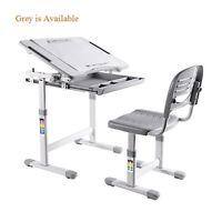 H-adjustable B203 Healthy Ergo Study Desk & Chair Set Grey W/paper Roll Holder