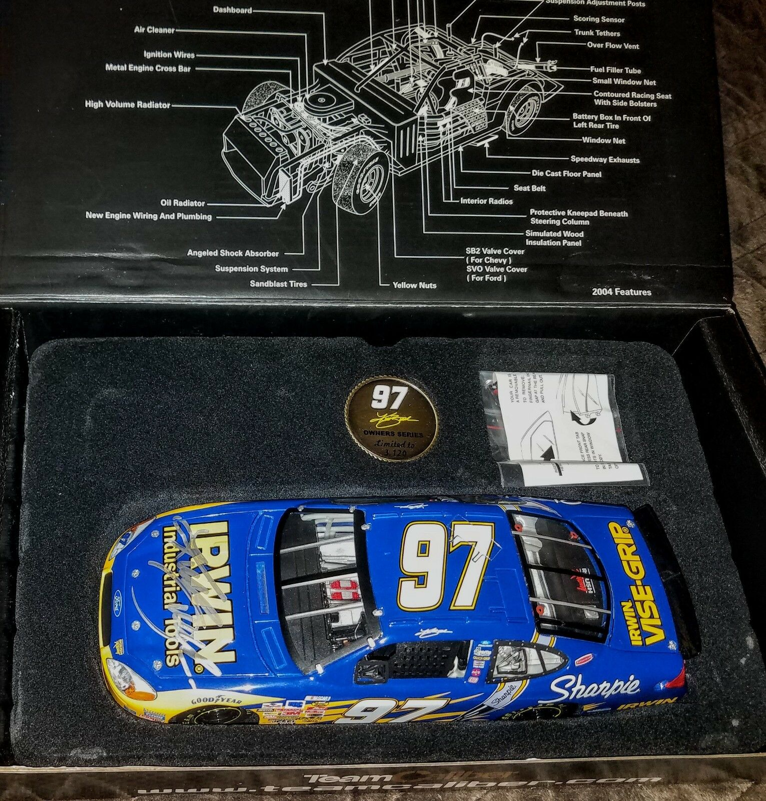 2005 SIGNED by Kurt Busch IRWIN TOOLS 1 24 Team Caliber Owners Diecast NASCAR