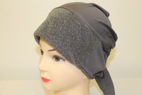 Ladies Glitter Shiny Shimmer Hair Bonnet HijabBandana Head Scarf Wear With Abaya