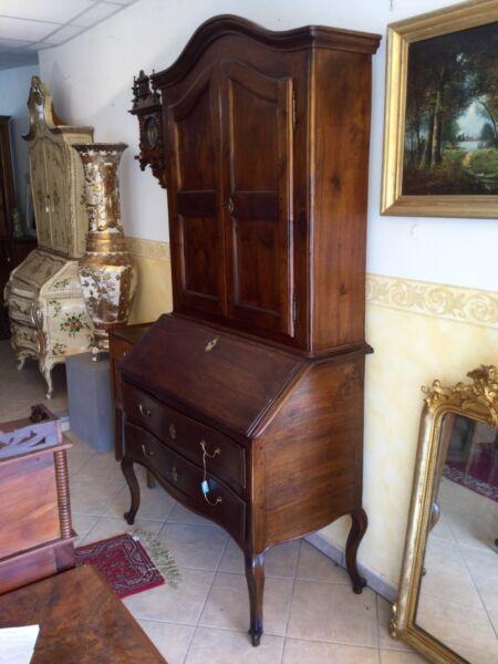 Trumeau Doppio Corpo In Noce Antico Epoca 1750 Stile Barocco Piemontese
