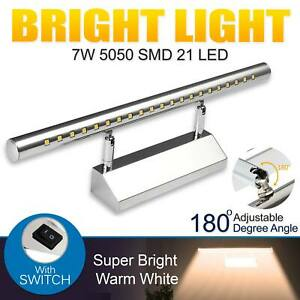 7 W Mirror Front Wall Light 5050 SMD 21 LED Anti Fog Waterproof With Switch UK