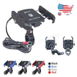 Motorcycle-Handlebar-Mount-Cell-Phone-Holder-USB-Charger-QC-3-0-Quick-Charging