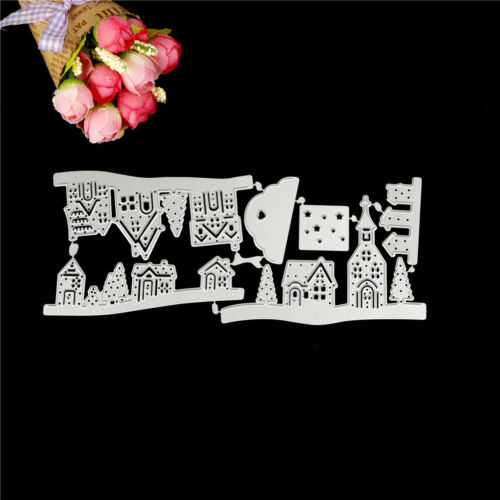 Delicate Chirtmas Houses Metal Cutting Dies Stencil Scrapbook Paper Cards   I