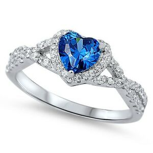 Sterling-Silver-925-HEART-LOVE-KNOT-BLUE-SAPPHIRE-CZ-PROMISE-RING-8MM-SIZE-4-12