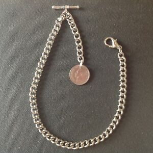 Brand-new-silver-colour-Albert-pocket-watch-chain-with-clasp-t-bar-and-sixpence