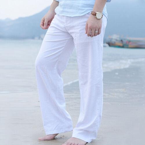 Mens Cotton Linen Loose Waist Drawstring Pants Beach Summer Yoga Casual Trousers