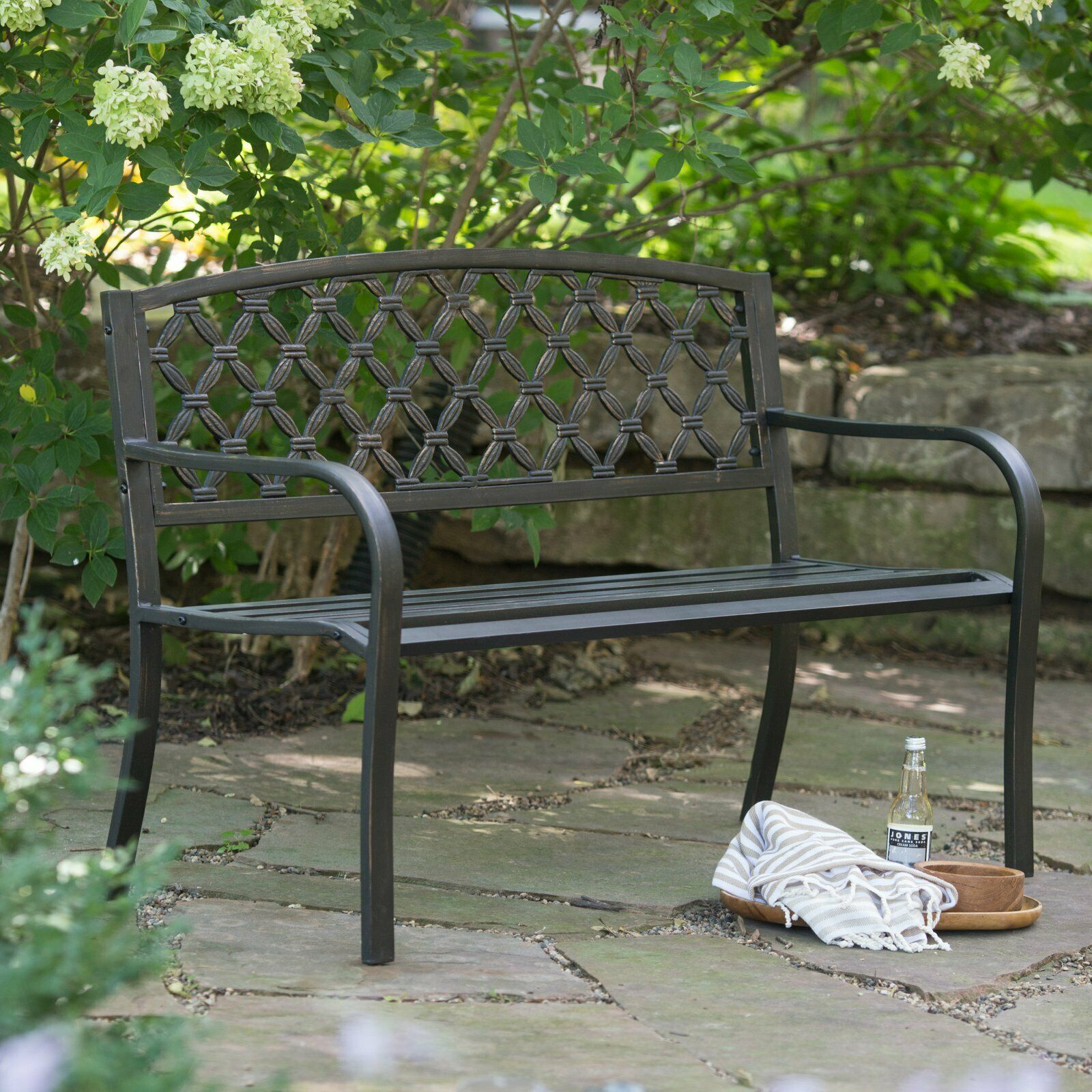 Picture of: Weathered Black Metal Outdoor Bench Woven Patio Porch Garden Modern 4 Foot For Sale