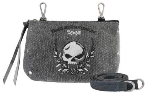 Harley-Davidson Women/'s Skull Distressed Denim Hip Bag w// Strap WDD5350-BLACK