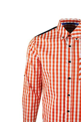Orange Shirt 387 Dominic Stefano Buttoned Collar Check Smart Casual Mens .