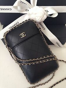 fd78ba19a1f3 CHANEL BLACK QUILTED WOC WALLET ON A CHAIN GOLD PHONE CROSSBODY ...