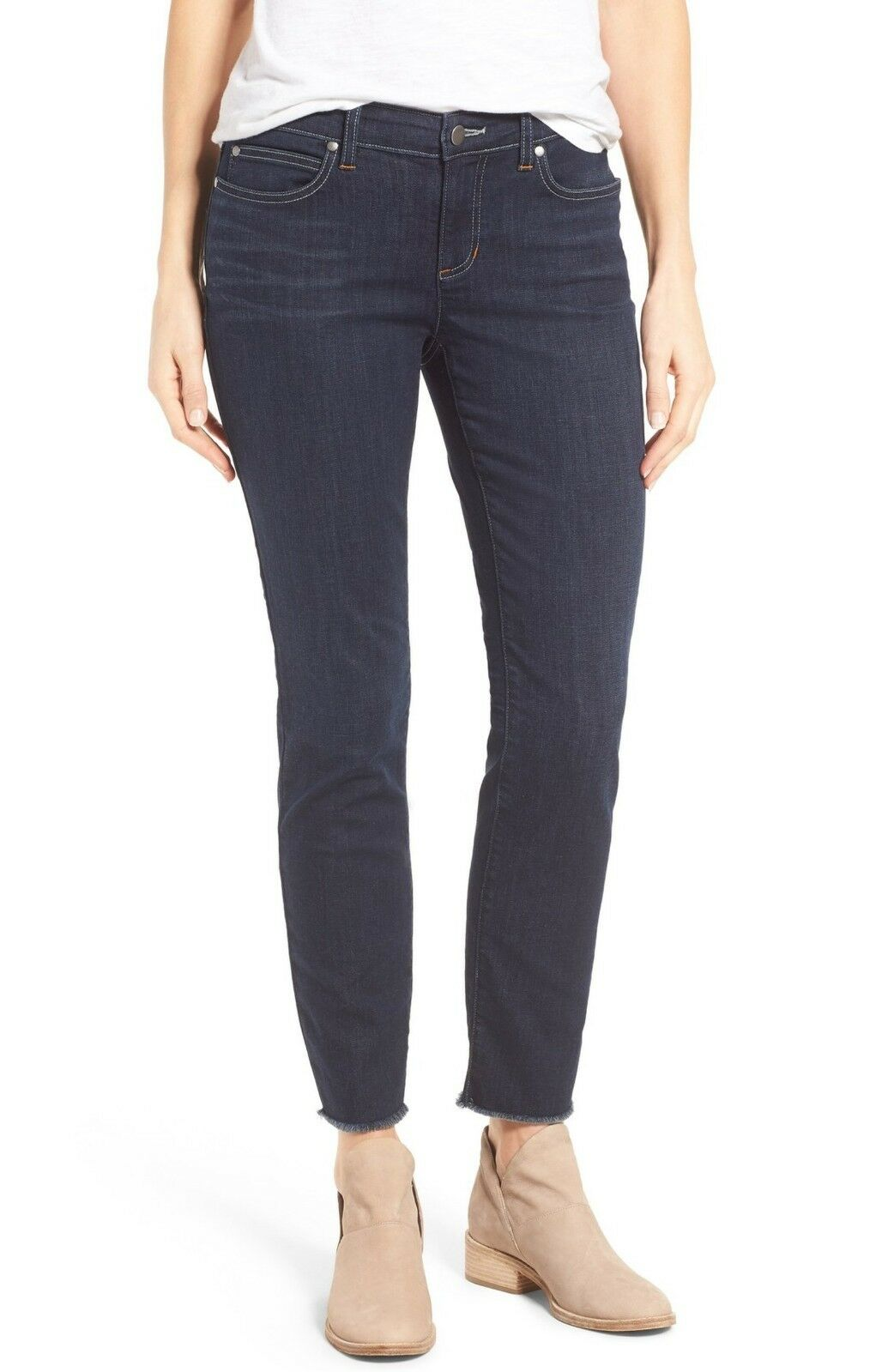 NEW EILEEN FISHER Indigo bluee Wash Organic Cotton Cropped Ankle Slim Jeans 18