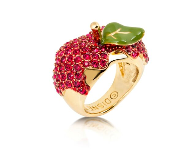 Disney Couture Snow White 14kt Gold-Plated Red Crystal Poison Apple Ring