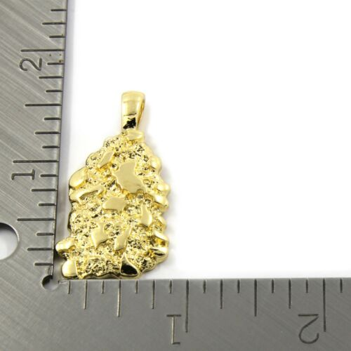 """Mens 14K Gold Plated Nugget Pendant Hip-Hop 5mm//24/"""" Figaro Chain"""