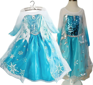 Girls Frozen Queen Elsa Princess Cosplay Costume Party Fancy Dress