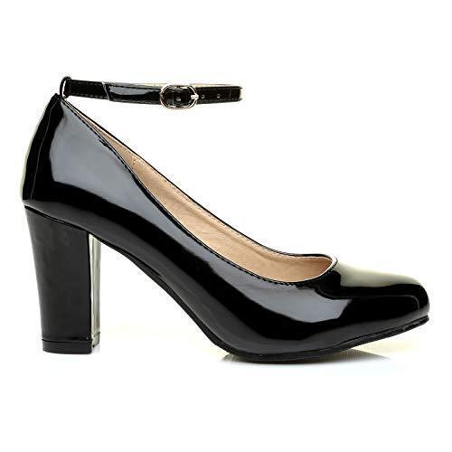 WOMENS LADIES MENS BLOCK HEEL ANKLE STRAP WORK COURT EVENING DRESS SHOES  UK9-12