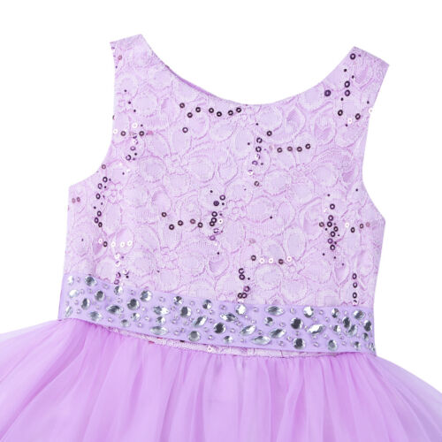 Flower Girl Dress Sequin Lace Mesh Party Wedding Princess Tulle Purple Size 2-14