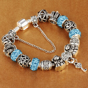 Authentic-Bracelet-Silver-Plated-925-Crown-Beads-Lock-Key-Heart-Charm-Jewelry