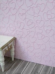 blass-rosa-Herzchen-TAPETE-Puppenstube-30cmx53-Kinderzimmer-Schlafzimmer