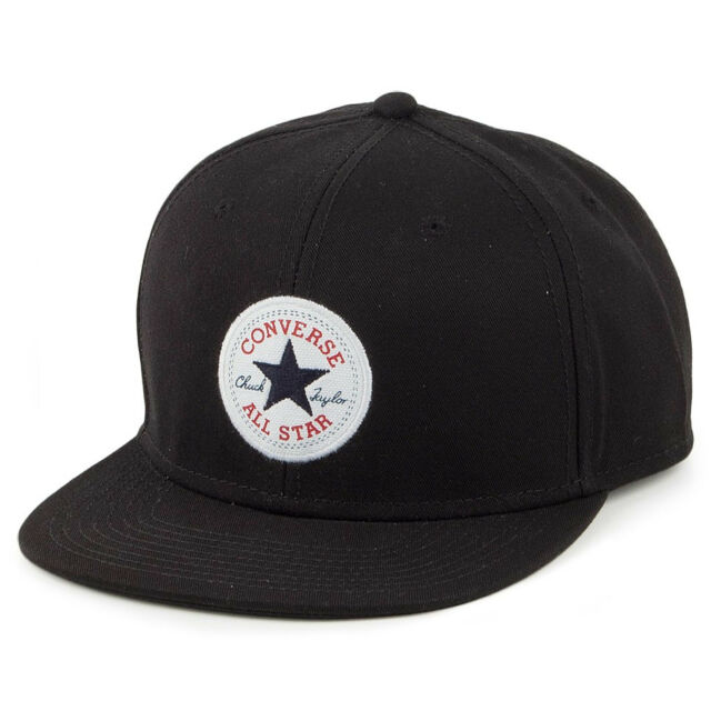 6501e20722258 Converse Mens Baseball Cap.black Twill Adjustable Snapback Flat Peak Hat  Con316 for sale online