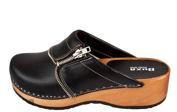 Les femmes en Bois Cuir Sabots Couleur noire pzm US Taille de chaussure