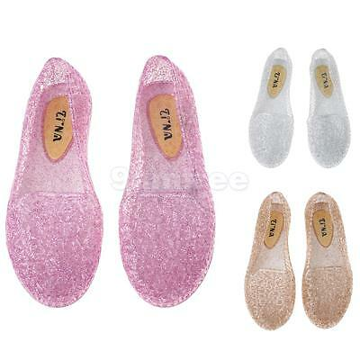 Women Hollow Out Jelly Shoes Breathable Glitter Ballet Flats Beach Sandals   eBay