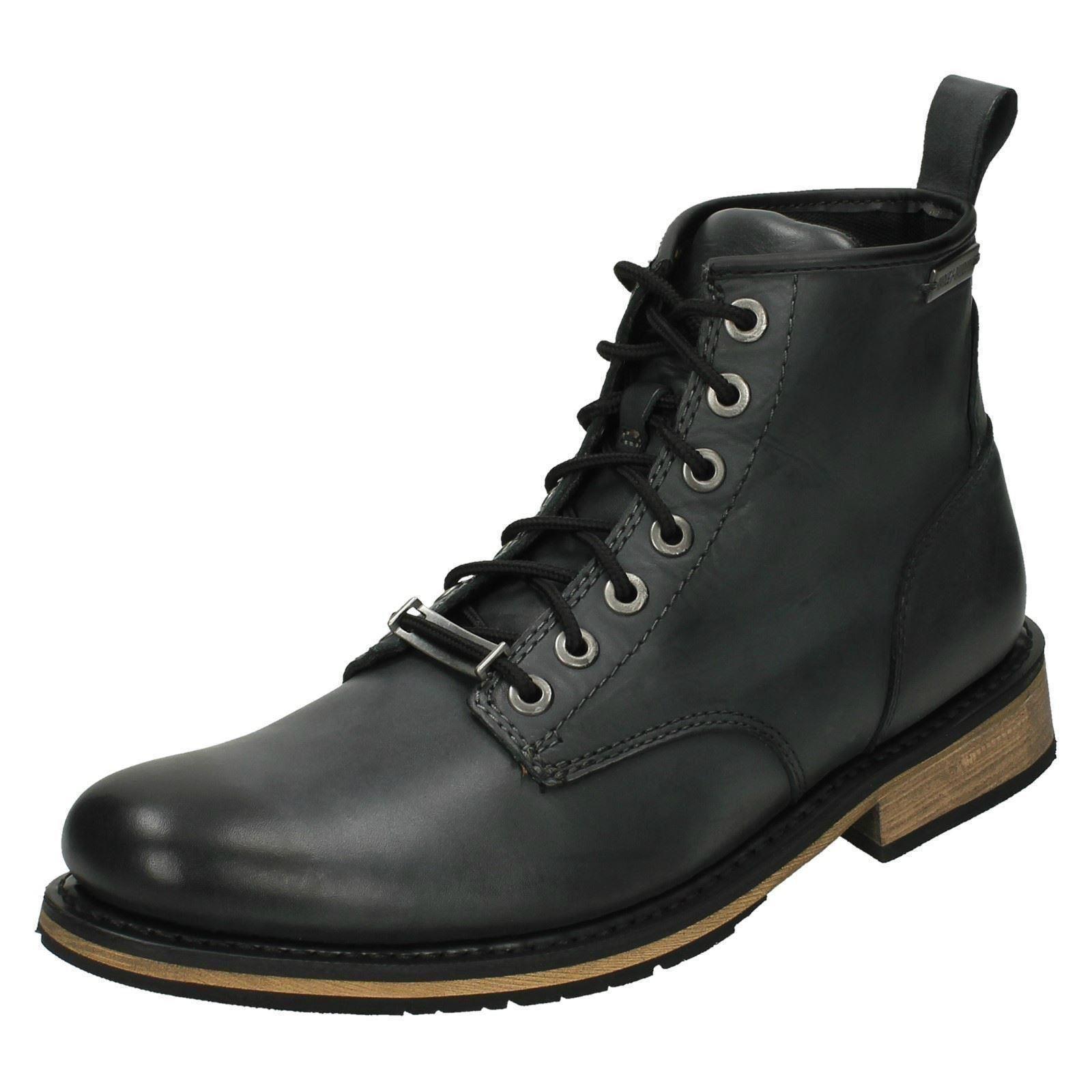 Los zapatos más populares para hombres y mujeres Mens HARLEY-DAVIDSON Negro Cuero Con Cordones Botas al Tobillo Estilo-Joshua