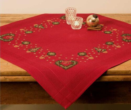 Stickpackung Decke 80x80 cm rot Adventskranz Weihnachten #64 KREUZSTICH Sticken