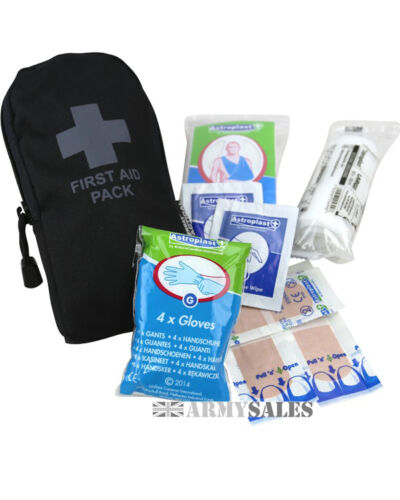 Kombat Tactical Black Military Emergency Field FIRST AID KIT Filled Pouch SMALL