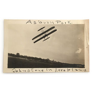 Original-Asbury-Park-Airshow-Photograph-Johnstone-Flying-Wright-Plane-C-1910