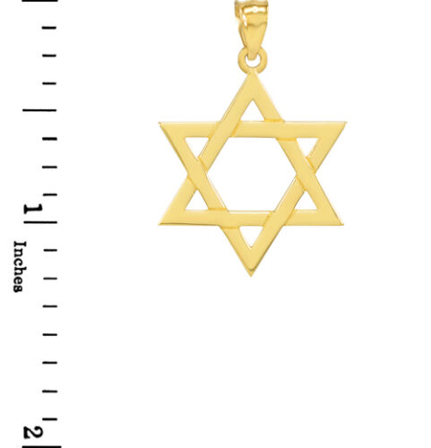 Fine Solid Gold Jewish Star of David Pendant Made in USA