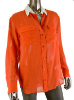 Equipment Femme Long Sleeve Fiery Red Button Down Silk Blouse S