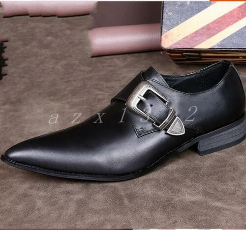 Hot Mens Pointy Toe Black Buckle Leather Formal Wedding Shoes Low Heel Oxfords
