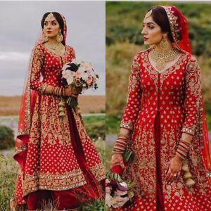 7c14523e24 Image is loading Indian-Wedding-Bridal-Gown-Lacha-Style-Lehenga-Dress-