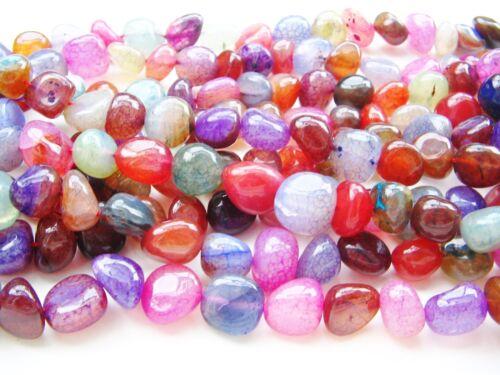 Achat Perlen gecrackelt bunt 12~16mm 29 Stück SERAJOSY