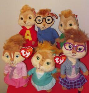 Set 6 Ty Beanie Babies Chipmunks Alvin Simon Theodore Brittany ... e6d0b80b58fe