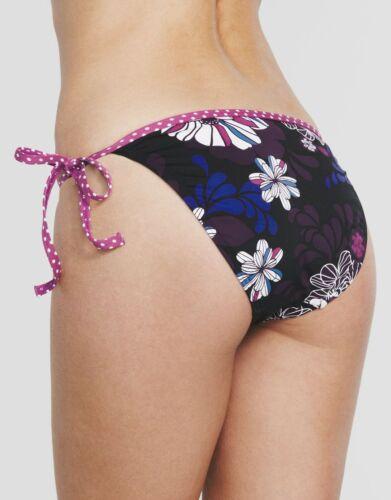 Sunseeker Costumi da bagno TANGO con cordino laterale Hipster Slip Bikini Nero Floreale V Taglie Nuovo