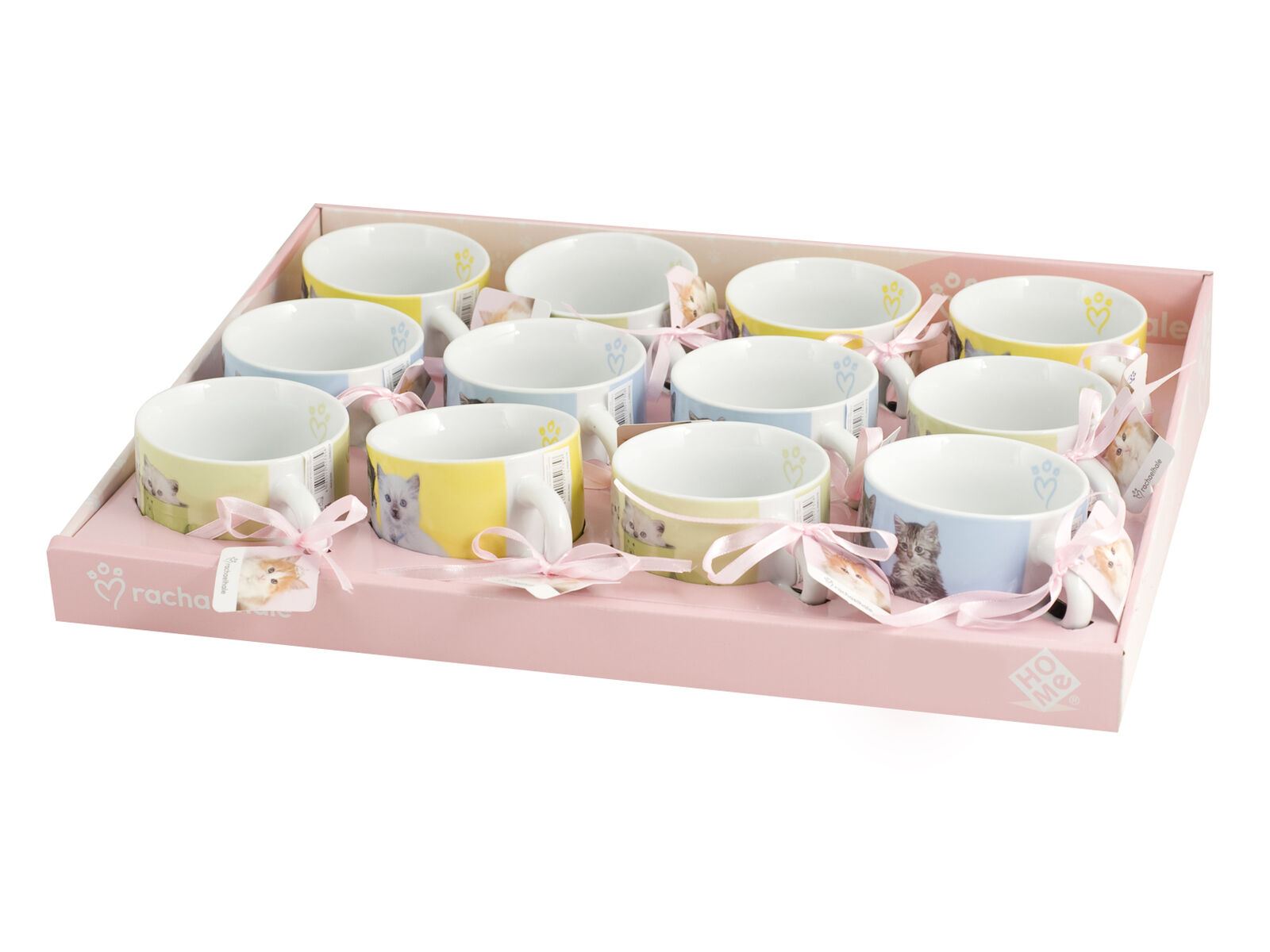 HOME Set 12 Tazze Tè Porcellana Cats Senza Piatti Cc260