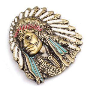 Vintage-American-Native-Indian-Chief-Feather-Western-Badge-Alloy-Belt-Buckle-ADF