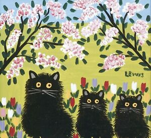 Maud-alewis-Three-Black-Cats-CANVAS-PICTURE-WALL-ART-20-034-x20-034-INCHES