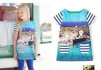 Mini Boden girls cotton jersey St Ives harbour print dress tunic NEW blue