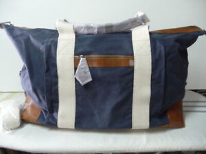 Mark and Graham Blue Canvas and Leather Weekender Bag please MWOT ... 6ce51194e311c